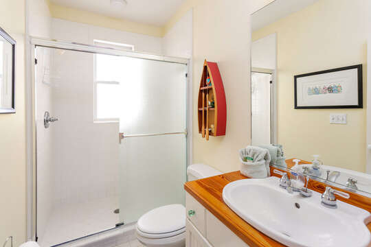 Bathroom with wood counter-top sink, mirror, toilet, and walk in shower.