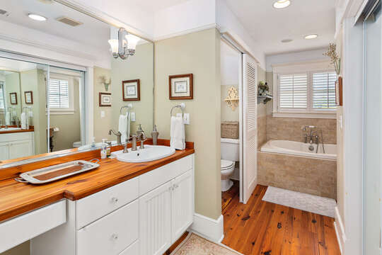 Master bathroom with vanity sink, large tub, and separated toilet room.