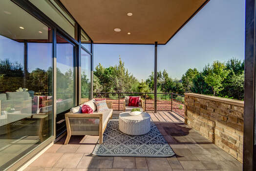 Spacious Back Patio That Overlooks the Golf Course with Red Rock Views