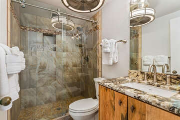 Master bathroom includes a large walk-in shower