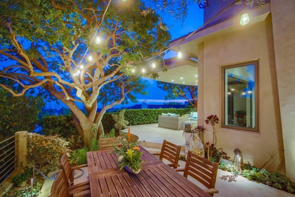 Night time view outdoor living spaces.