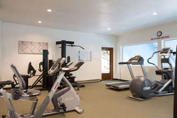Workout Room overlooking pool in Recreation Building