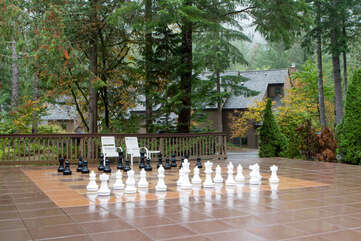 Patio Chess and Checkers just outside Recreation Building