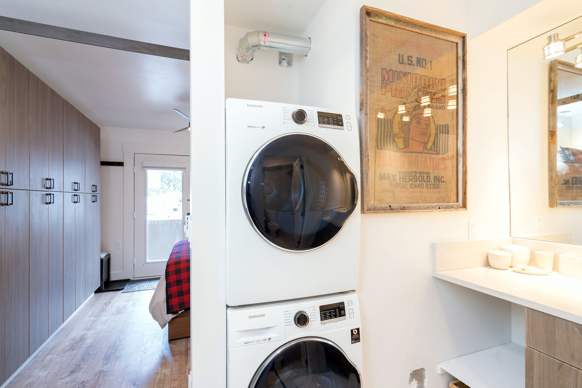 Stacked washer and dryer combo