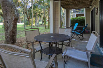 Enjoy the golf course views and the outdoor dining.