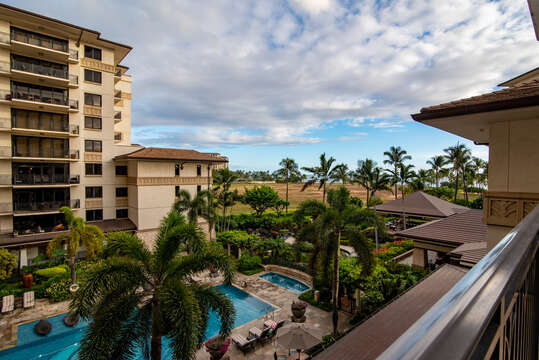 View of the pool outside this oahu condo rental from the balcony