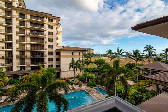 View of pool from this oahu condo rental
