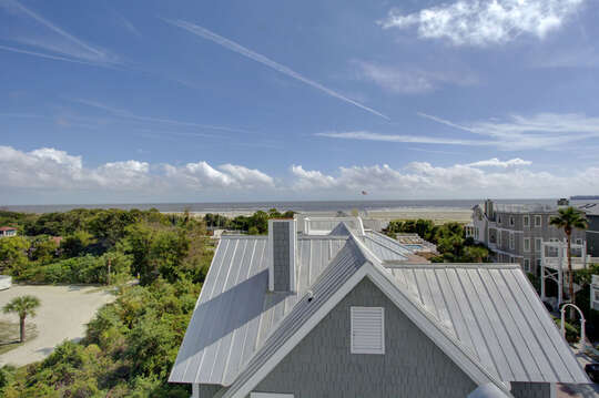 Aerial Picture of the Roof of our Beach House for Rent St Simons Island, GA.