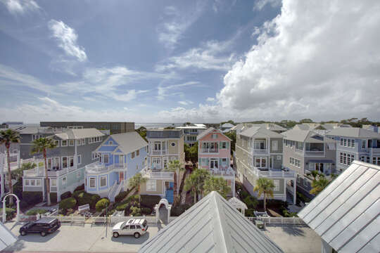 Aerial Picture of the Street of our Beach House for Rent St Simons Island, GA.