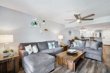 Sectional Sofa, Love Seat, Ceiling Fan, and Coffee Table