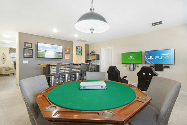 Play a fun round of poker in the loft game room