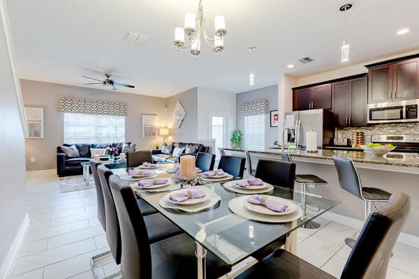 Enjoy a meal together at the formal dining table
