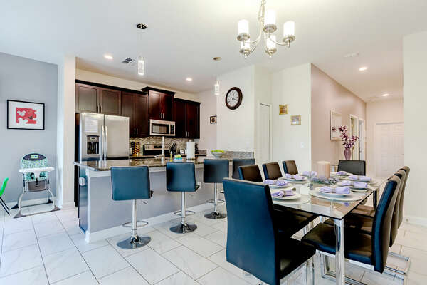 Dine with up to 7 of your closest family members in the luxurious dining chairs