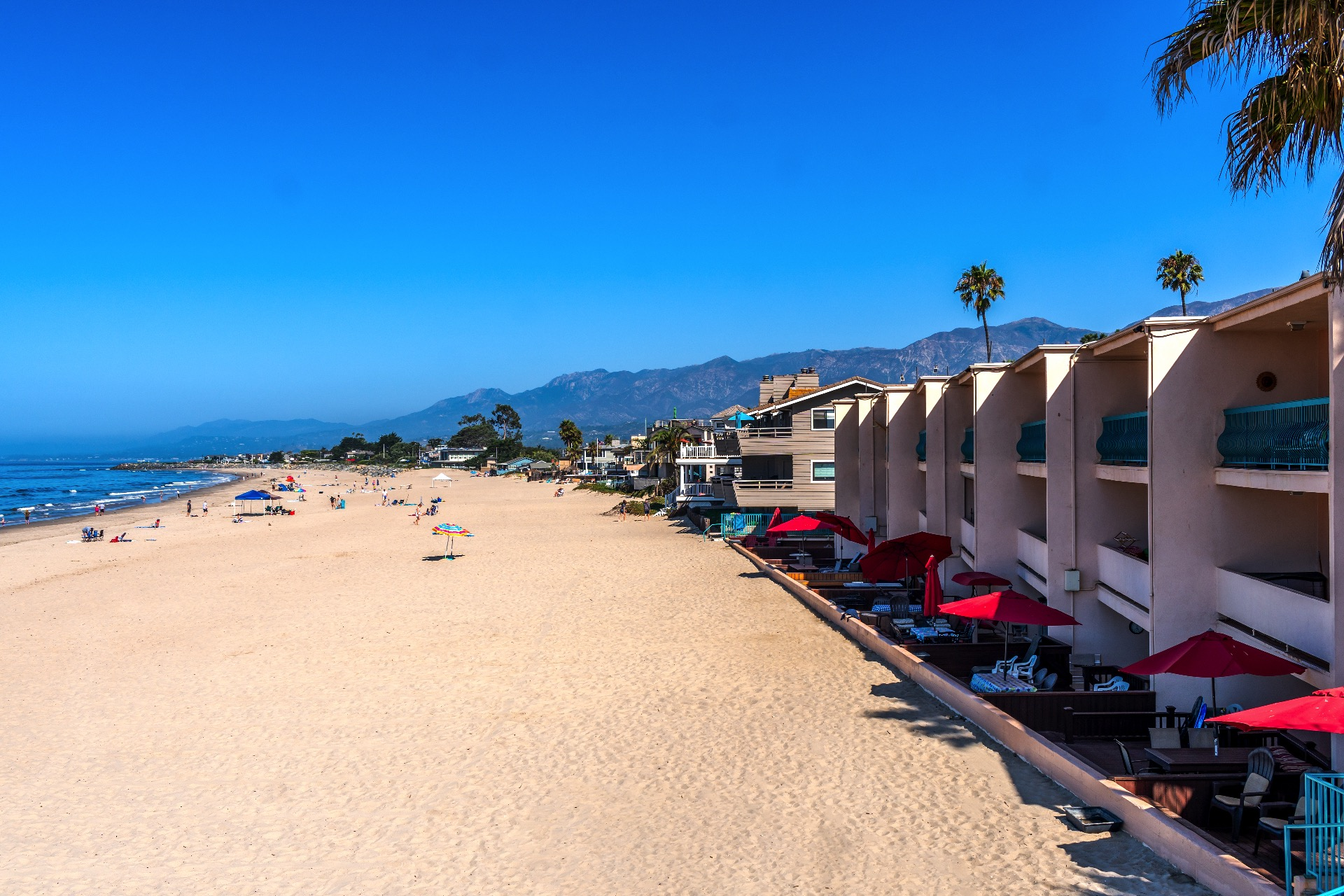 View of the Carpinteria Shores resort from the sand.