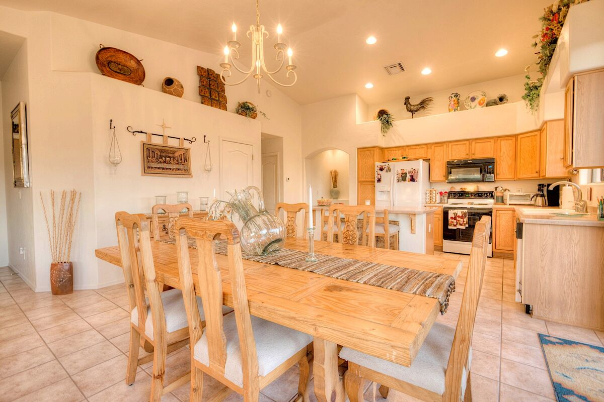 Bright, warm open kitchen and dining