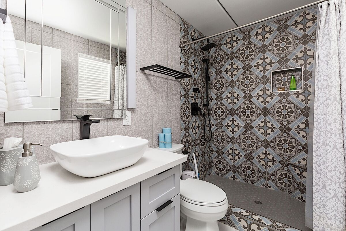 Master bathroom with stand in shower