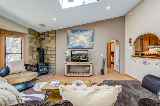 Living Room with All New Cork Flooring, Comfortable Furnishings and 45