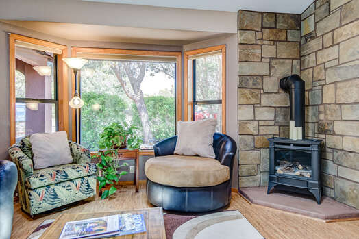 Cozy Gas Stove and Wooded Views