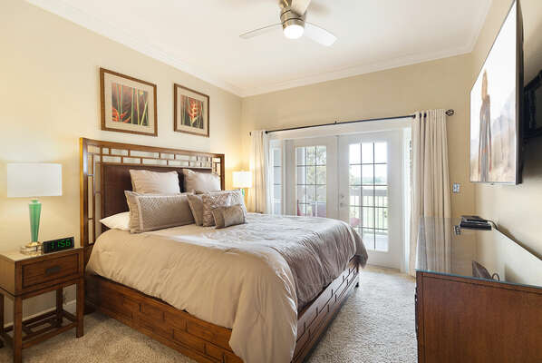 Get a good night`s sleep in the master suite featuring a king-sized bed