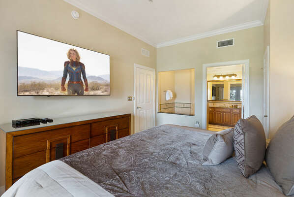 Enjoy a private movie on the SMART TV while you relax in style