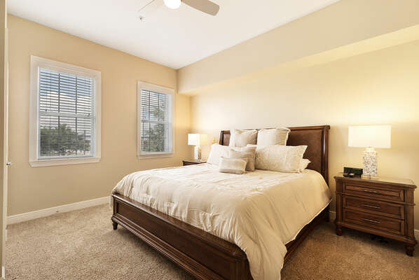 After a long day at the parks, sink into the king-sized bed in the second bedroom