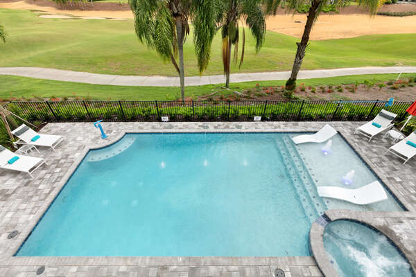 Overlook the pool from your bedroom