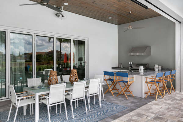 Dine al fresco at the dining table with seating for 8