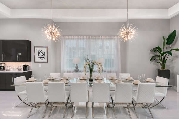 Host a family-style dinner at the table with seating for up to 12