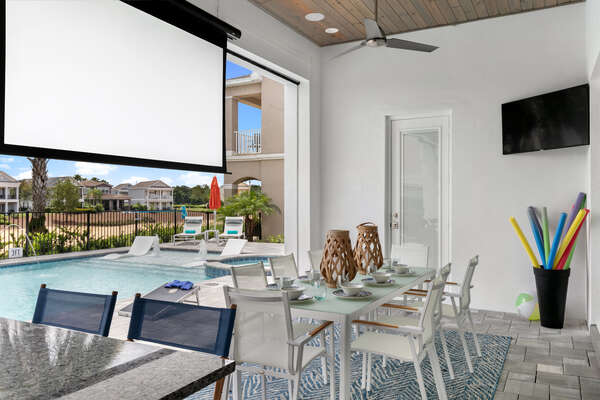Watch a movie from the spa or pool at night with an outdoor projector and speakers