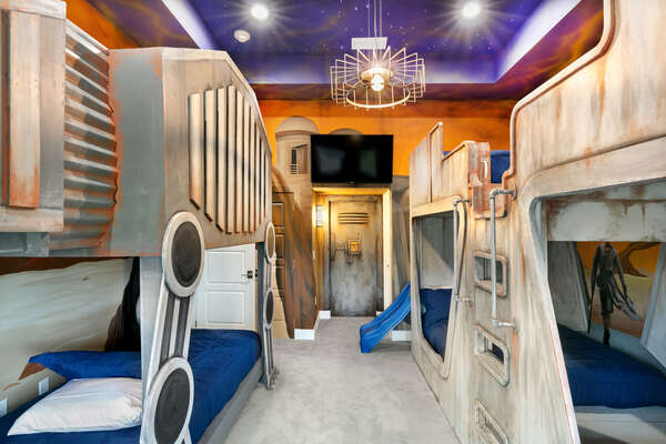 This galaxy bedroom will take anyone`s breath away