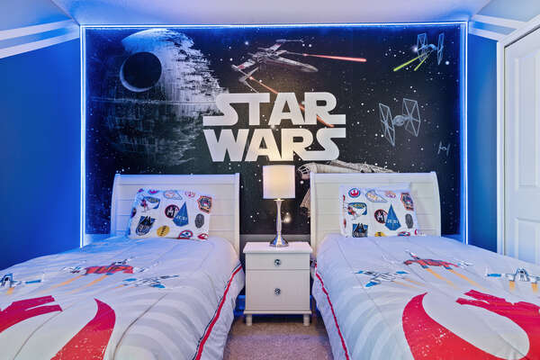 Kids will enter a galaxy far far away in this bedroom!