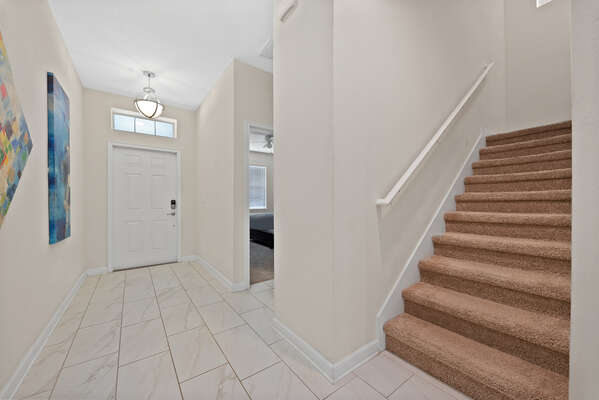 The entryway stairs lead you to the rest of the home