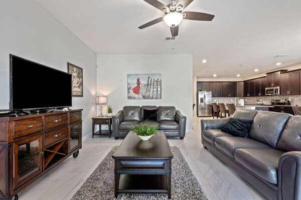 Get comfortable on the sofa seating in the living area