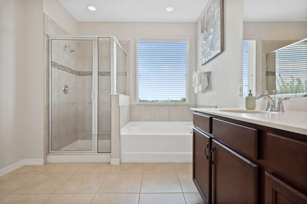 Choose from a relaxing soak in the garden tub or a quick shower