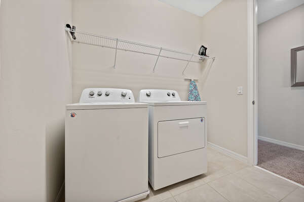 A laundry room so you don't have  worry about your clothing