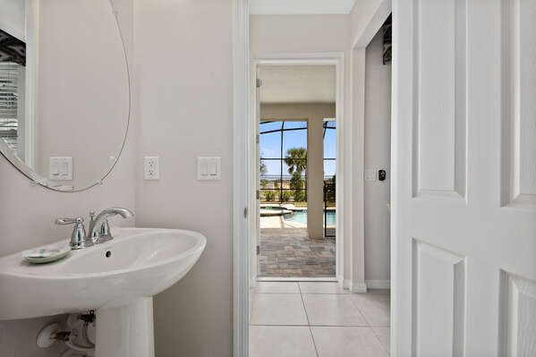 The bathroom is very close to the  private pool
