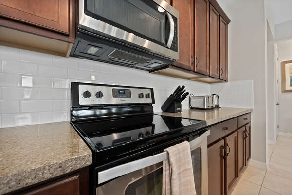 Featuring stainless steel appliances