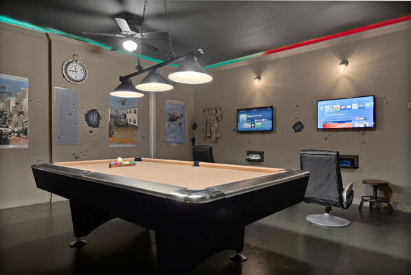 Converted garage games room