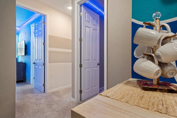 Both kids bedrooms are located right near the movie room