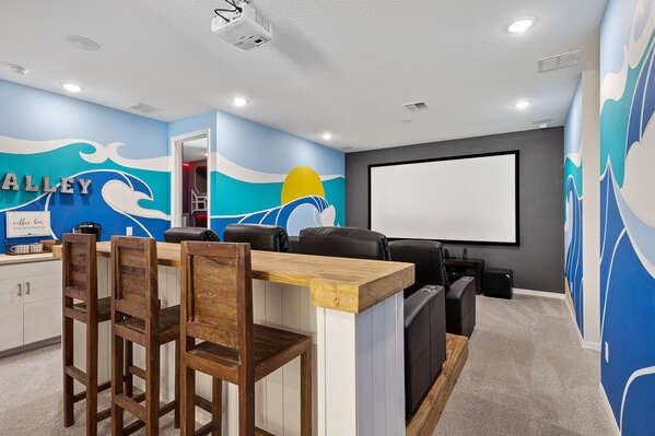 The beach themed theater room