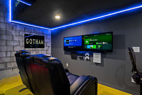 Theres a gaming center with an XBOX One and Playstation 4