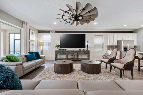 The living area is decorated so you will feel right at home