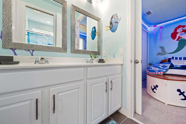 There's a dual vanity so your kids can all get ready for the day together