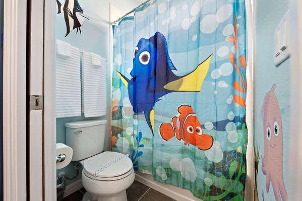 The shared Jack and Jill  bathroom