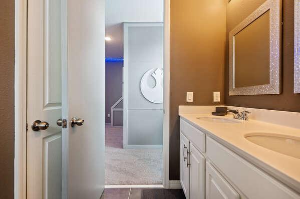 Bathroom has a dual vanity