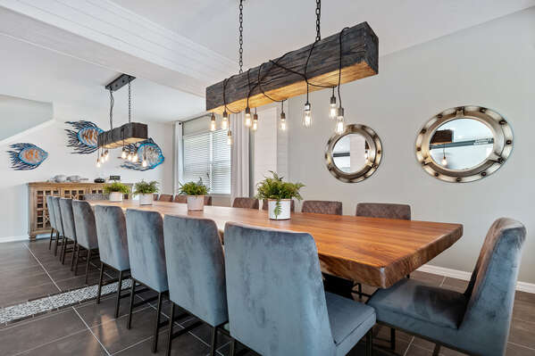 The whole family will love dining together at the formal dining table