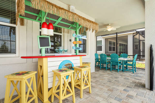 Show off your bartending skills at the tiki bar