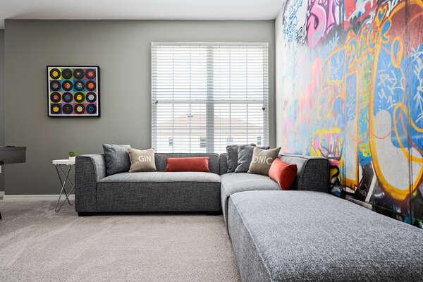 Lounge on the large comfortable sofa seating
