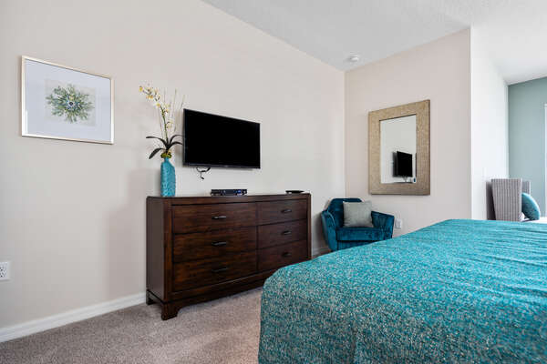 Plush king-sized bed and private TV