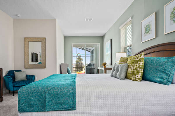 The downstairs master suite